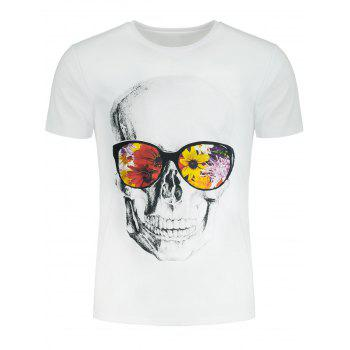 Flowers and Skull Printed Crew Neck T-shirt