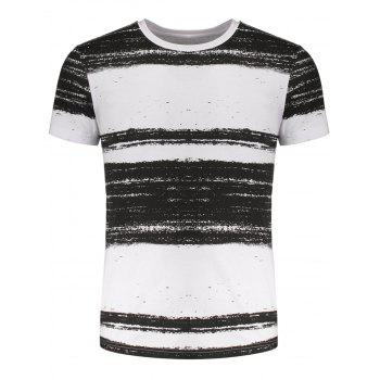 Ink Striped Pattern Round Neck Tee