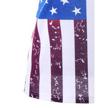 Plus Size Lace Trim American Flag T-shirt - COLORMIX 2XL