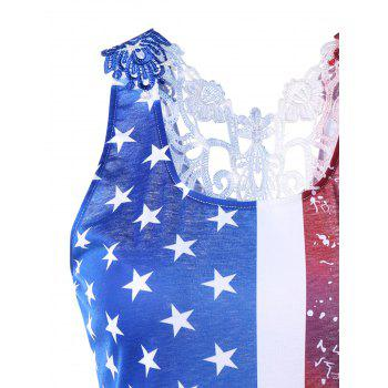 Plus Size Lace Trim American Flag T-shirt - 5XL 5XL