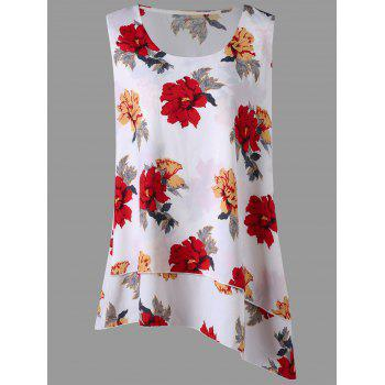 Plus Size Floral Layered Asymmetric Blouse