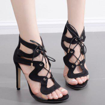 Transparent Plastic Tie Up Sandals