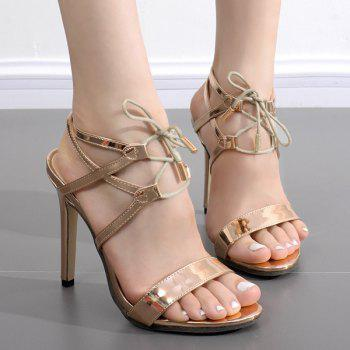Metallic Colour Tie Up Sandals