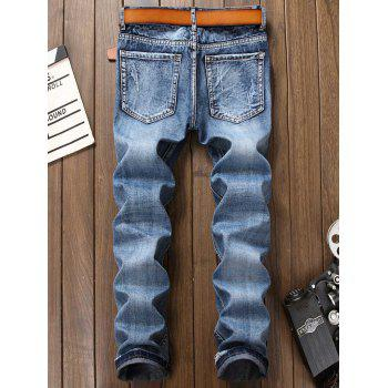 Zipper Fly Faded Bleach Wash Ripped Jeans - BLUE 36