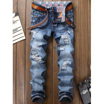 Zipper Fly Faded Bleach Wash Ripped Jeans