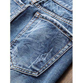 Zipper Fly Faded Bleach Wash Ripped Jeans - BLUE 38