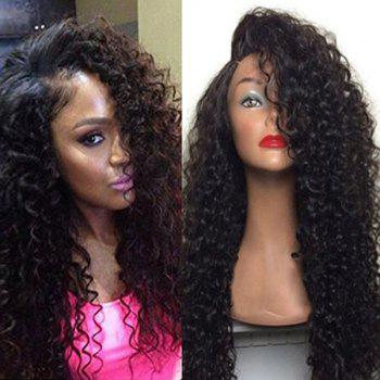 Long Deep Side Part Shaggy Curly Lace Front Human Hair Wig