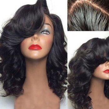 Medium Shaggy Side Part Body Wavy Lace Front Human Hair Wig