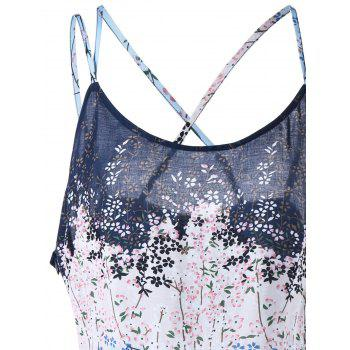 Floral Print Plus Size Lattice Camisole - COLORMIX COLORMIX