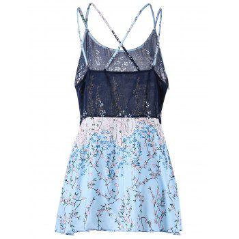 Floral Print Plus Size Lattice Camisole - COLORMIX XL