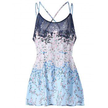 Floral Print Plus Size Lattice Camisole