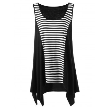Striped Color Block Plus Size Asymmetric Top