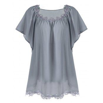 Crochet Panel Plus Size Butterfly Sleeve Top - DEEP GRAY DEEP GRAY
