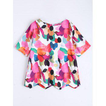 Short Sleeve Printed Zip Top
