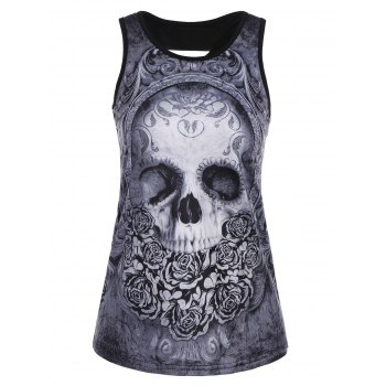 Ripped Back Skull Floral Print Tank Top