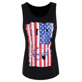 Punk Tank Top with Distressed USA Flag Printing