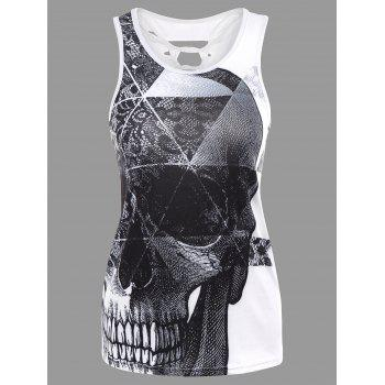 Printed Racerback Cut Out Tank Top