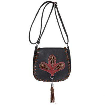 Ethnic Whipstitch Tassel Crossbody Bag - BLACK BLACK