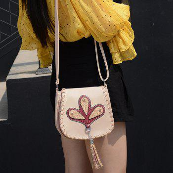 Ethnic Whipstitch Tassel Crossbody Bag -  BEIGE