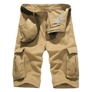 Pockets Embellished Zipper Fly Cargo Shorts