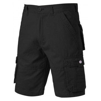 Zipper Fly Pockets Design Applique Cargo Shorts