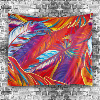 Feather Fabric Wall Hanging Home Decor Tapestry - RED RED