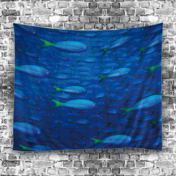 Wall Hanging Ocean Fish Print Decorative Tapestry - BLUE W59 INCH * L79 INCH