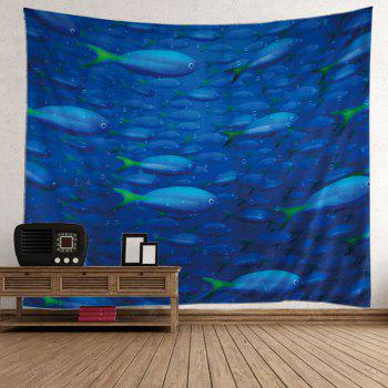 Wall Hanging Ocean Fish Print Decorative Tapestry - BLUE BLUE