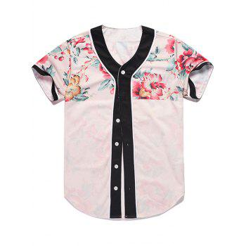 Floral Printed Button Up Baseball Jersey