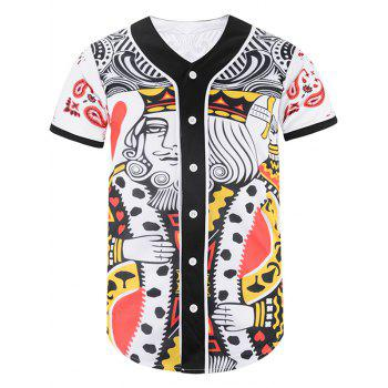 Button Up Poker King Print Baseball Jersey
