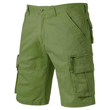 Zip Up Pockets Straight Leg Applique Cargo Shorts