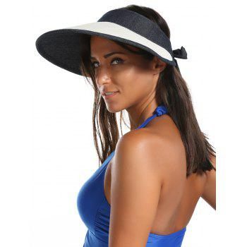 Bowknot Band Oversize Brim Open Top Straw Hat - OFF-WHITE OFF WHITE