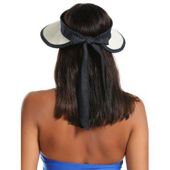 Bowknot Band Oversize Brim Open Top Straw Hat -  OFF WHITE