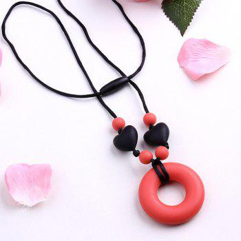 Silicone Beads Circle Heart Pendant Necklace