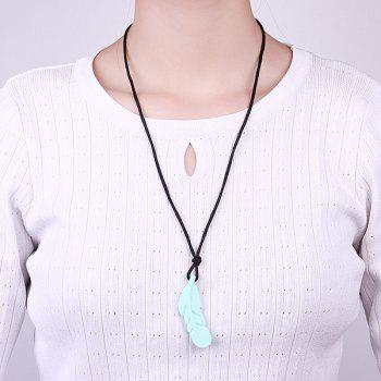 Rope Silicone Feather Pendant Necklace - GREEN