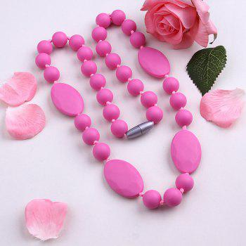 Silicone Oval Embellished Beaded Necklace
