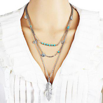 Layered Faux Turquoise Disc Feather Necklace
