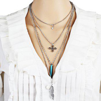 Alloy Star Chinese Knot Feather Layered Necklace