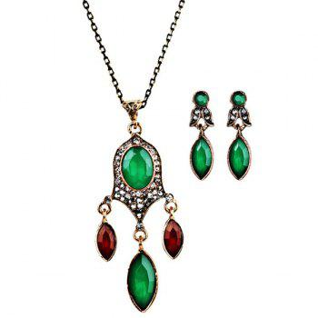 Faux Gem Chandelier Necklace with Earrings