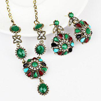 Rhinestoned Flower Necklace and Earring Set