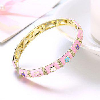 Engraved Alloy Bangle Bracelet - PINK