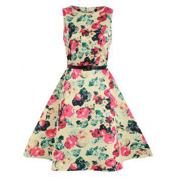 Floral Sleeveless Fit and Flare Dress with Belt