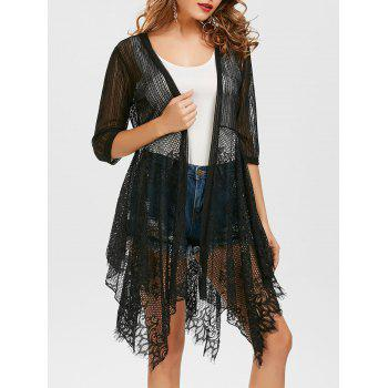 Lace Insert See Through Asymmetrical Kimono - BLACK BLACK