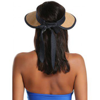 Bowknot Band Oversize Brim Open Top Straw Hat -  LIGHT COFFEE