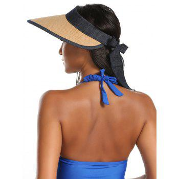 Bowknot Band Oversize Brim Open Top Straw Hat