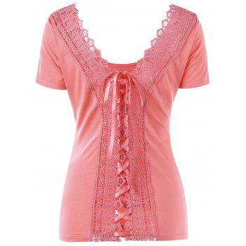 Scoop Neck Lace-up Laced Top - ORANGEPINK L