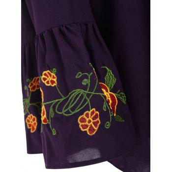 Plus Size Embroidered Off the Shoulder Blouse with Flare Sleeve - 5XL 5XL