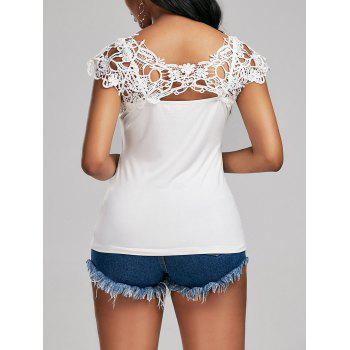 Lace Trim Cutwork Cap Sleeve T-shirt
