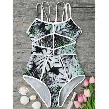 Tropical Print Piping One Piece Swimsuit