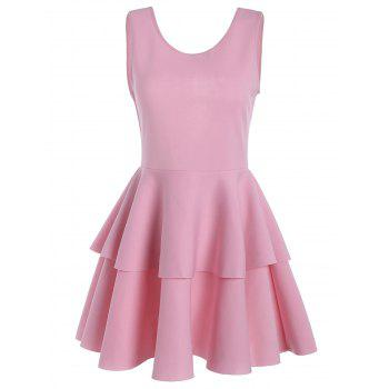 Bowknot Cut Out Back Layered Flouce Dress - ROSE PÂLE M